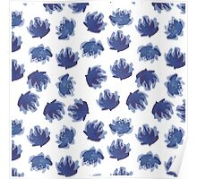 Hand painted ink flowers pattern. Poster