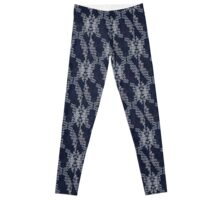 Navy Blue and White Hand drawn patterns Leggings