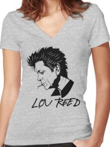 Lou Reed (Black) Women's Fitted V-Neck T-Shirt