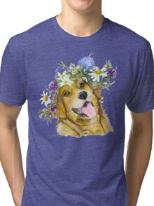 Dog with flowers. Tri-blend T-Shirt