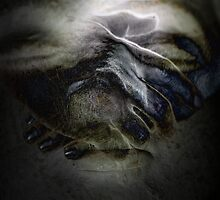 Two hands together in the gesture of 'sprinkling' the nectar of immortality.  by Danica Radman
