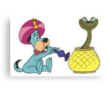 Huckleberry Hound Charms Kaa (Jungle Book Snake) Canvas Print