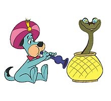 Huckleberry Hound Charms Kaa (Jungle Book Snake) Photographic Print