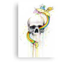 Adventure through Time and Face with Jake, Finn, and Lady Rainicorn | Skull Watercolor Canvas Print