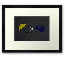 Yellow Umbrella Wins Framed Print