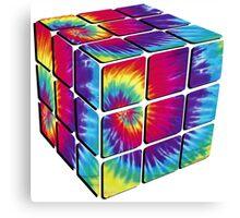 Rubiks Cube Tie Dye Canvas Print