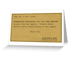 Erased - Eternal Sunshine Memory Merchandise Greeting Card