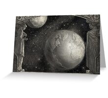 Earth, Moon, and the Milky Way Galaxy Greeting Card