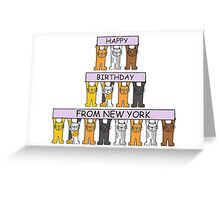 Cats Happy Birthday from New York. Greeting Card