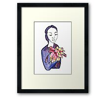 Lady mit Blumen - Lady with Flowers Framed Print