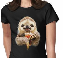 Sloth And Soft Drink Womens Fitted T-Shirt