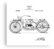 Harley Davidson Motorcycle 1919 Patent Drawing Canvas Print