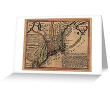 Map Of New England 1729 Greeting Card