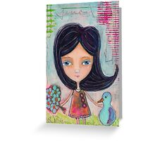 Girl and a Bluebird Greeting Card