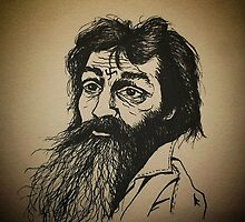 Charles Manson ink drawing by Art Enlightenment