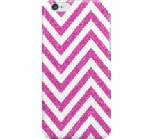 MODERN CHEVRON PATTERN bold bright pink glitter white iPhone Case/Skin