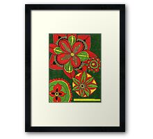 Floral Burst in Dk Green & Red Framed Print