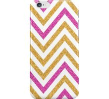 MODERN CHEVRON PATTERN bold bright pink + gold glitter white iPhone Case/Skin