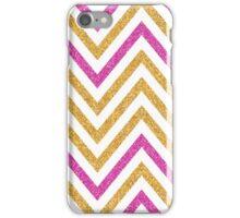 MODERN CHEVRON PATTERN bold bright pink + gold glitter white iPhone Case/Skin