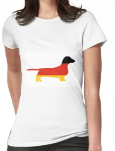 dachshund flag silhouette Womens Fitted T-Shirt