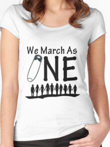 We March As One - #safetypin for #solidarity Women's Fitted Scoop T-Shirt