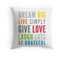 LIFE MANTRA positive cool typography bright colors Throw Pillow