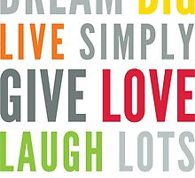 LIFE MANTRA positive cool typography bright colors by Kat Massard
