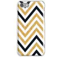 MODERN CHEVRON PATTERN bold black + gold glitter white iPhone Case/Skin