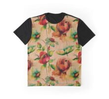 Red budding watercolor roses on wood texture Graphic T-Shirt