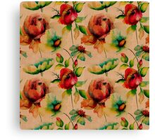 Red budding watercolor roses on wood texture Canvas Print