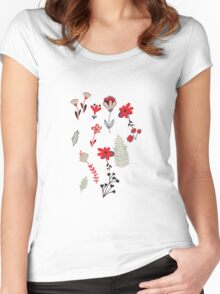 Red Vintage Floral Pattern Women's Fitted Scoop T-Shirt
