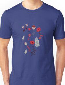 Red Vintage Floral Pattern Unisex T-Shirt
