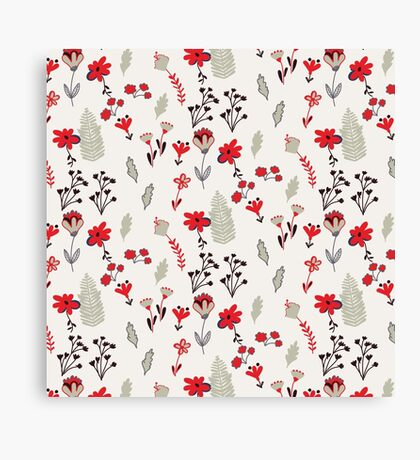 Red Vintage Floral Pattern Canvas Print