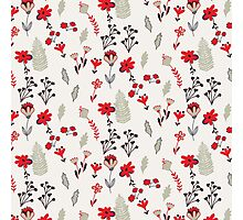Red Vintage Floral Pattern Photographic Print