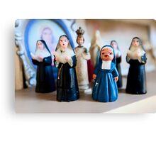 Christmas Nuns Greeting Card Canvas Print