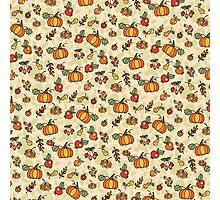 Autumn harvest fruit,pumpkin .Doodle  pattern Photographic Print