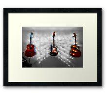 Christmas Guitars Greeting Card Framed Print