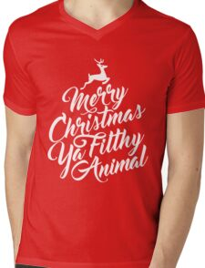 Merry Christmas Ya Filthy Animal Home Alone Movie Quote Design Mens V-Neck T-Shirt