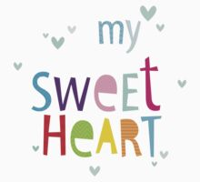 "MODERN POP TYPE bright pattern typography ""my sweet heart"" Kids Tee"