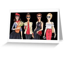 Sunglasses girls, fashion illustrations Greeting Card