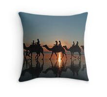 Camels at Sunset, Cable Beach, Broome, Western Australia Throw Pillow