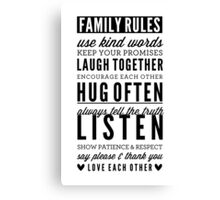 FAMILY RULES modern typography positive art gray Canvas Print