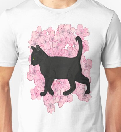 Black cat , cherry blossoms  Unisex T-Shirt
