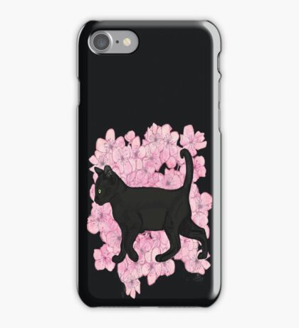 Black cat , cherry blossoms  iPhone Case/Skin
