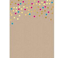 CONFETTI SPOT pattern modern gold aqua pink kraft Photographic Print