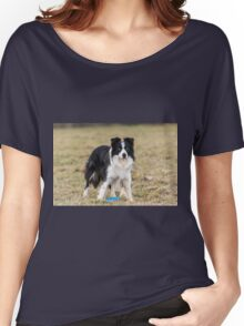 border collie with a Frisbee in its paws Women's Relaxed Fit T-Shirt