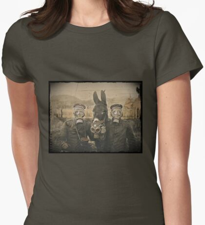 Soldiers and Mule Wear Gas Masks Womens Fitted T-Shirt