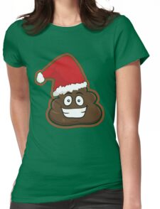 Merry Christmas Poop Emoji Face Womens Fitted T-Shirt