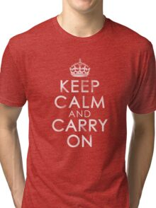 Vintage Distressed Keep Calm and Carry On Tri-blend T-Shirt