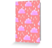Rain Clouds (Pink) Greeting Card